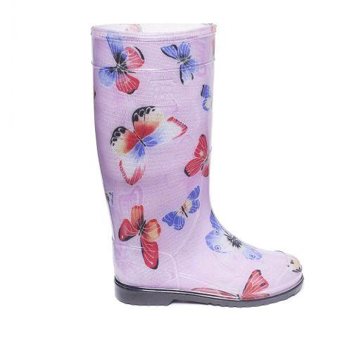 Гумові чоботи Метелики на рожевому тлі